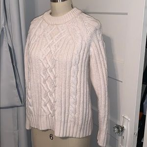 Rag and Bone ivory Cable Mockneck Sweater
